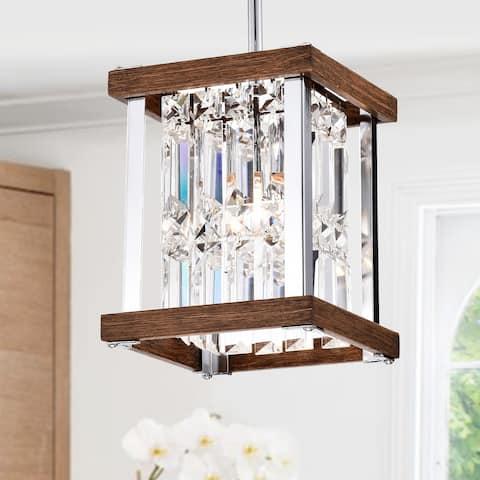 Laius Imitation Wood Grain/Chrome 1-light Pendant with Crystals
