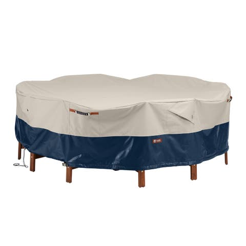 Classic Accessories Mainland Water-Resistant 94 Inch Patio Round Table and Chair Set Cover
