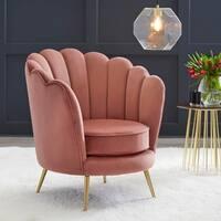 angelo:HOME Twila Velvet Upholstered Scalloped Back Chair