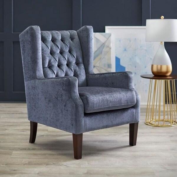 angelo:HOME Harlin Velvet/Wood Wingback Chair