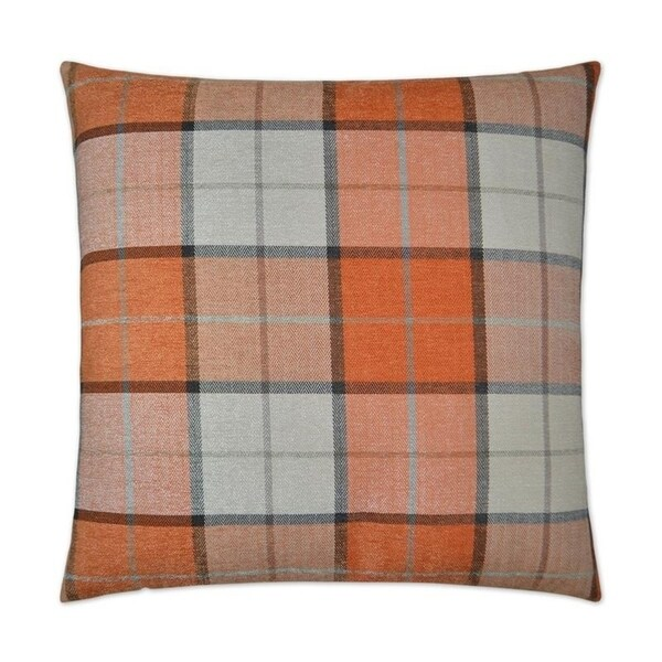 Penn Plaid-Orange Feather Down Hidden Zipper 24-inch Decorative Throw Pillow