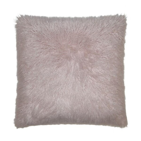 Llama Fur-Blush Feather Down Hidden Zipper 24-inch Decorative Throw Pillow