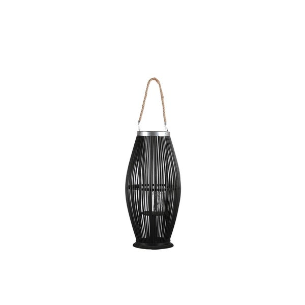 Bamboo Lantern Painted Finish Black 19.25""