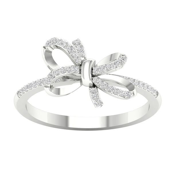 1/8ct TDW Diamond Knot Bow Fashion Ring in 10k Gold by De Couer. Opens flyout.