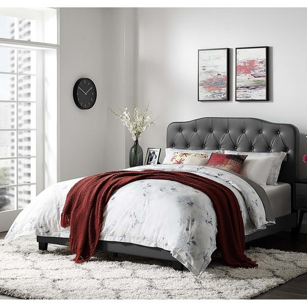 Dayton Twin Size Grey Leather Platform Bed with Button Tufted Headboard
