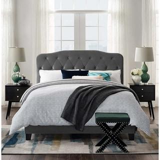 Dayton Queen Size Grey Velvet Platform Bed with Button Tufted Headboard