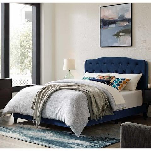 Dayton Full Size Blue Velvet Platform Bed with Button Tufted Headboard