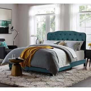 Dayton Twin Size Teal Velvet Platform Bed with Button Tufted Headboard