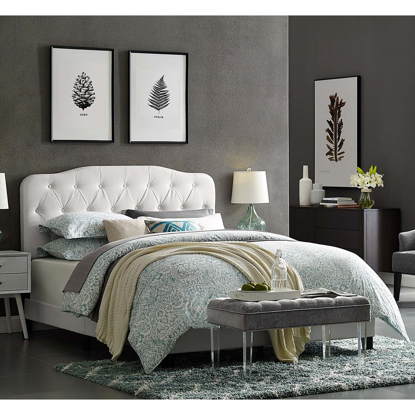 Picture of: Shop Black Friday Deals On Dayton Queen Size White Leather Platform Bed With Button Tufted Headboard Overstock 28247662