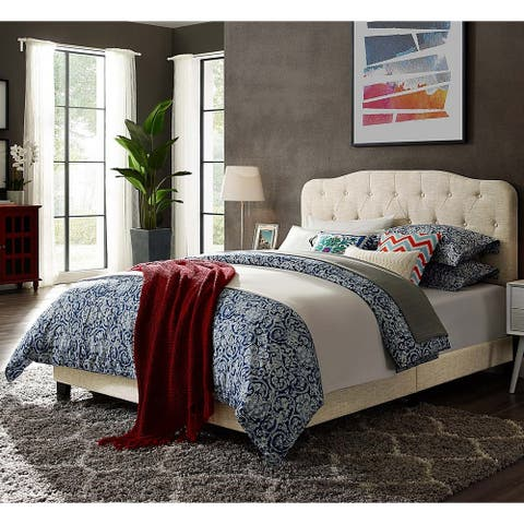 Dayton Twin Size Beige Fabric Platform Bed with Button Tufted Headboard