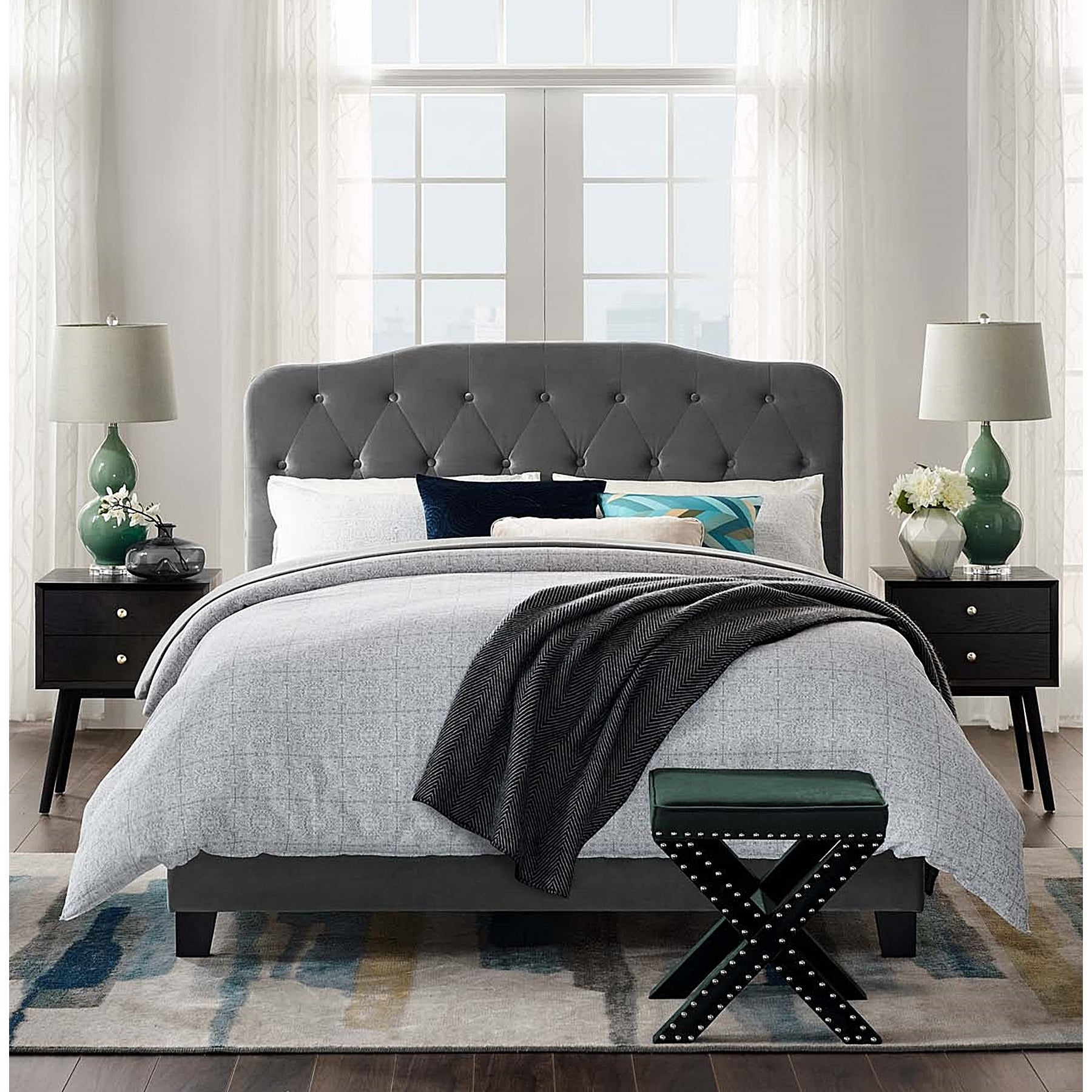 Shop Dayton Full Size Grey Velvet Platform Bed With Button Tufted