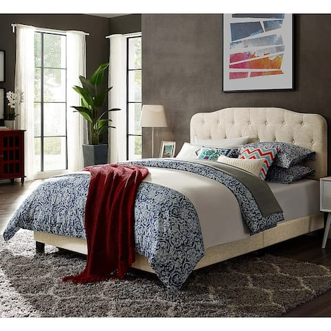Dayton Full Size Beige Fabric Platform Bed with Button Tufted Headboard