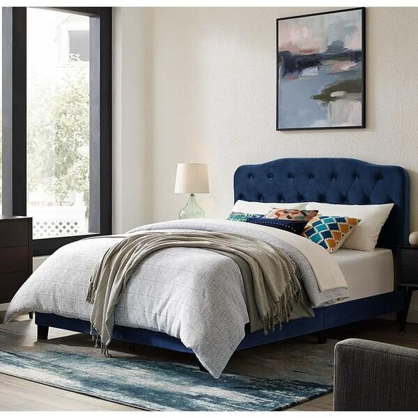 Dayton Twin Size Blue Velvet Platform Bed with Button Tufted Headboard