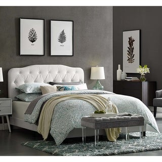 Dayton Twin Size White Leather Platform Bed with Button Tufted Headboard
