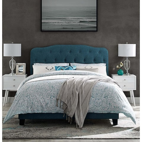 Dayton Queen Size Teal Fabric Platform Bed with Button Tufted Headboard