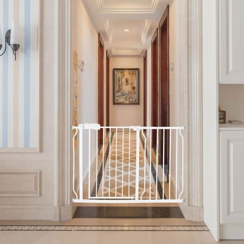 Easy Open Child Safety Gate Extra Wide Perfect for House Stairs Hallway Doorways - White