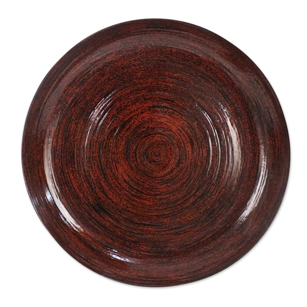 Handmade Ablaze Lacquered bamboo plate(Thailand)