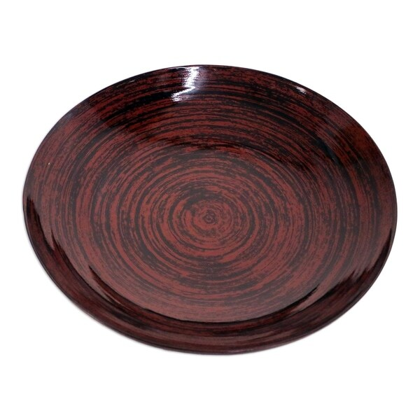 Handmade Hypnotic Vision Lacquered bamboo plate(Thailand)