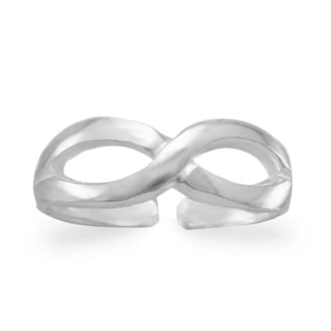 Sterling Silver Infinity Toe Ring, Stackable Knuckle Ring, 5mm
