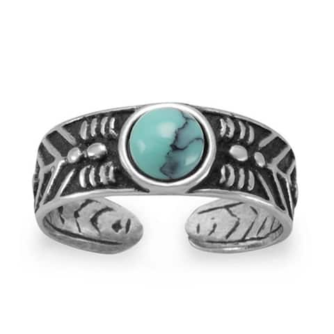 Oxidized Sterling Silver Toe / Knuckle Ring with Simulated Turquoise