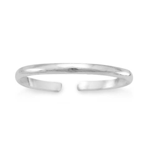 Sterling Silver 1mm Plain Band Toe Ring, Stackable Knuckle Ring