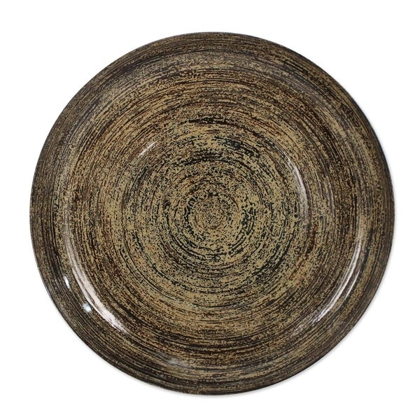 Handmade The Earth Pulsates Lacquered bamboo plate(Thailand)