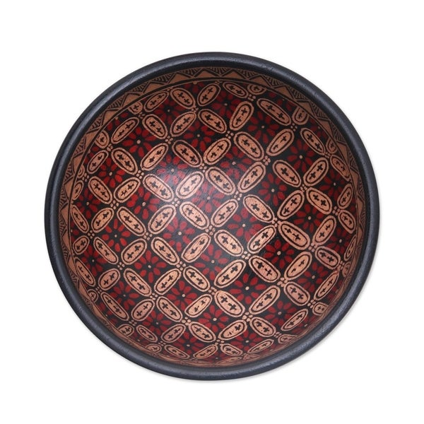 Handmade Truntum Parade Batik wood decorative bowl(Indonesia)