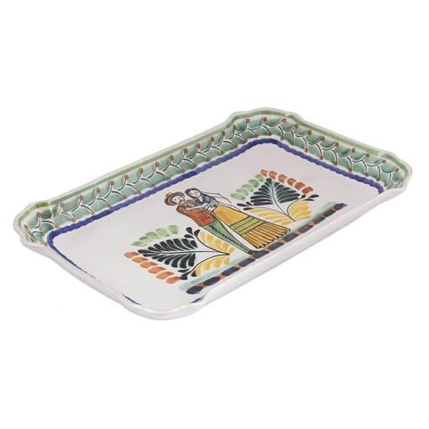 Handmade Colonial Wedding Majolica ceramic plate(Mexico)