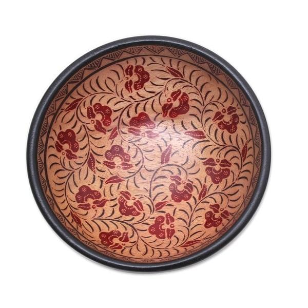 Handmade Lok Chan Flowers Batik Wood Decorative Bowl (Indonesia). Opens flyout.