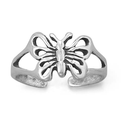 Oxidized Sterling Silver Butterfly Toe Ring, Knuckle Ring