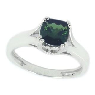Michael Valitutti Stering Silver Green Tourmaline Cushion Ring