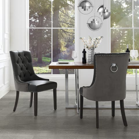 George Leather PU/Velvet Dining Chair Tufted Nailhead Trim (Set of 2) - Chrome Finish