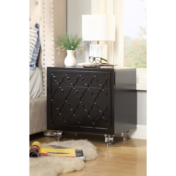 Cara Trellis Lacquer-Finish Lucite Leg Side Table/ Nightstand