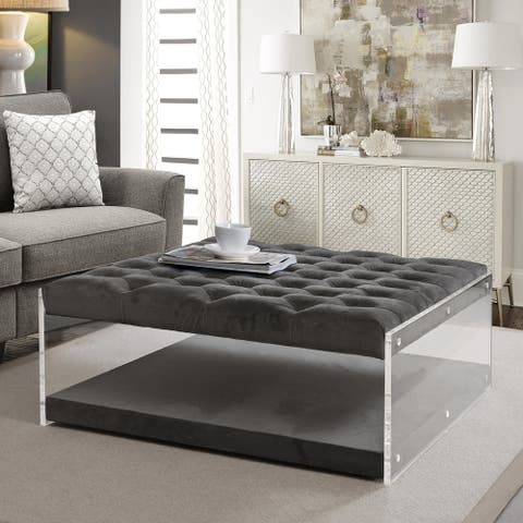 Sophia Velvet Oversized Button Tufted Acrylic Sided Cocktail Ottoman