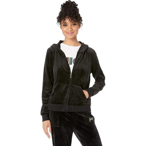 Juicy Couture Women's Foil w/Glitter Crown Wreath Hoodie, Pitch Black