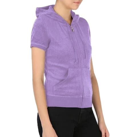 Juicy Couture Women's Microterry Sunset Short-Sleeve Robertson Zip Jacket, Hazy Violet