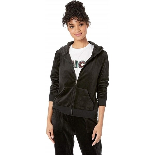 Juicy Couture Women's Glitter with Rhinstones Logo Hoodie, Pitch Black