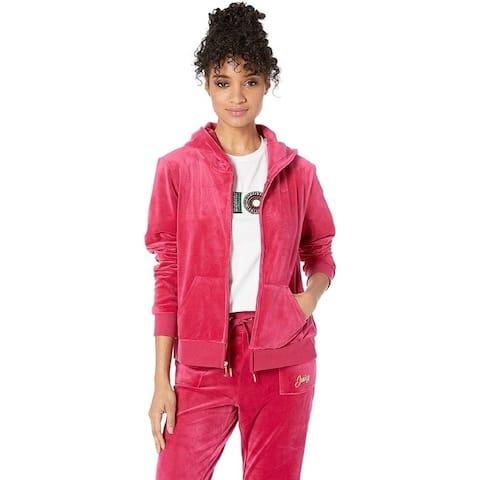 Juicy Couture Women's Glitter Heart Hoodie, Raspberry Pink