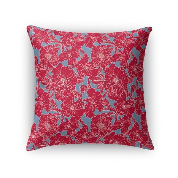 FLOWER POWER RED AND BLUE Accent Pillow By Kavka Designs