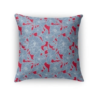 FLOWER POWER BLUE AND RED Accent Pillow By Kavka Designs