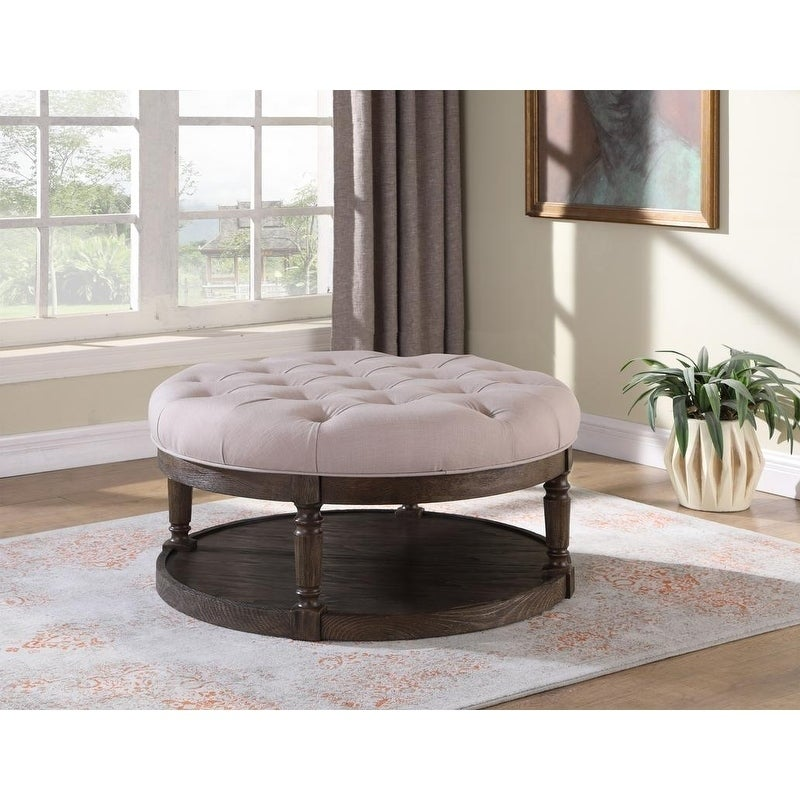 Shop Best Master Furniture Upholstered Round Tufted Ottoman Coffee