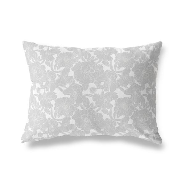 FLOWER POWER GREY ON WHITE Lumbar Pillow By Kavka Designs