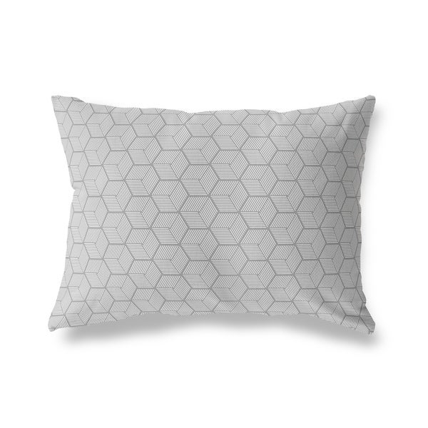 GEOCUBE DARK GREY Lumbar Pillow By Kavka Designs