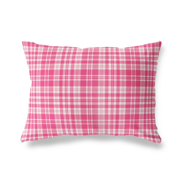 PLAYFUL PLAID PINK Lumbar Pillow By Kavka Designs