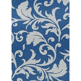 Porch & Den John Blue and Grey Damask Pattern Indoor/Outdoor Reversible Area Rug