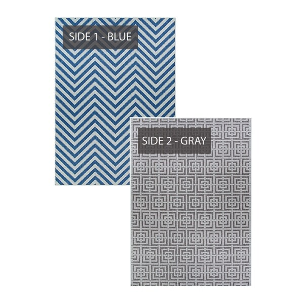 Duplicity Harbour Blue & Gray Indoor/Outdoor Area Rug