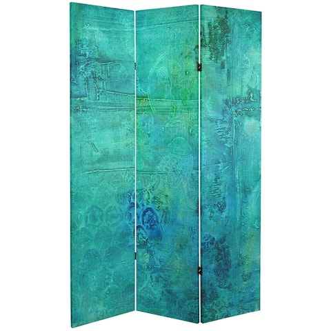 Handmade 6' Double Sided Water Bird Canvas Room Divider