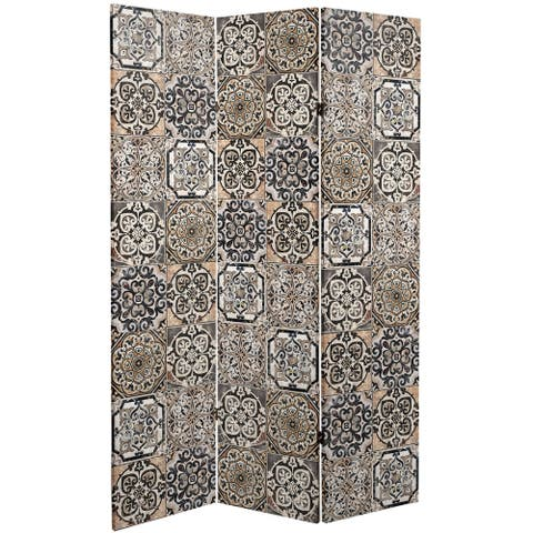 Handmade 6' Double Sided Victorian Tile Canvas Room Divider