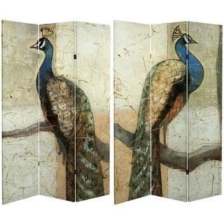 Handmade 6' Canvas Peacocks Room Divider