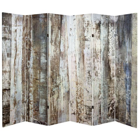 Handmade 6' Double Sided Winter Woods Canvas Room Divider